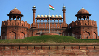 General view of the Red Fort in Old Delhi India.
